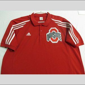 XL Red Striped Adidas Men db Polyester #201T Polo